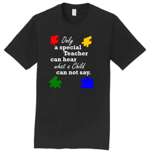 """Only a special Teacher..."" Puzzle Pieces Unisex S/S Tee"