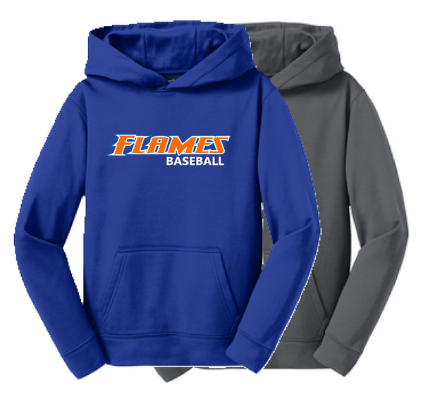 Flames Baseball Sport-Tek® Youth Sport-Wick® Fleece Hooded Pullover