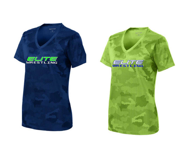 Greenville Elite Wrestling Sport-Tek® Ladies CamoHex V-Neck Tee