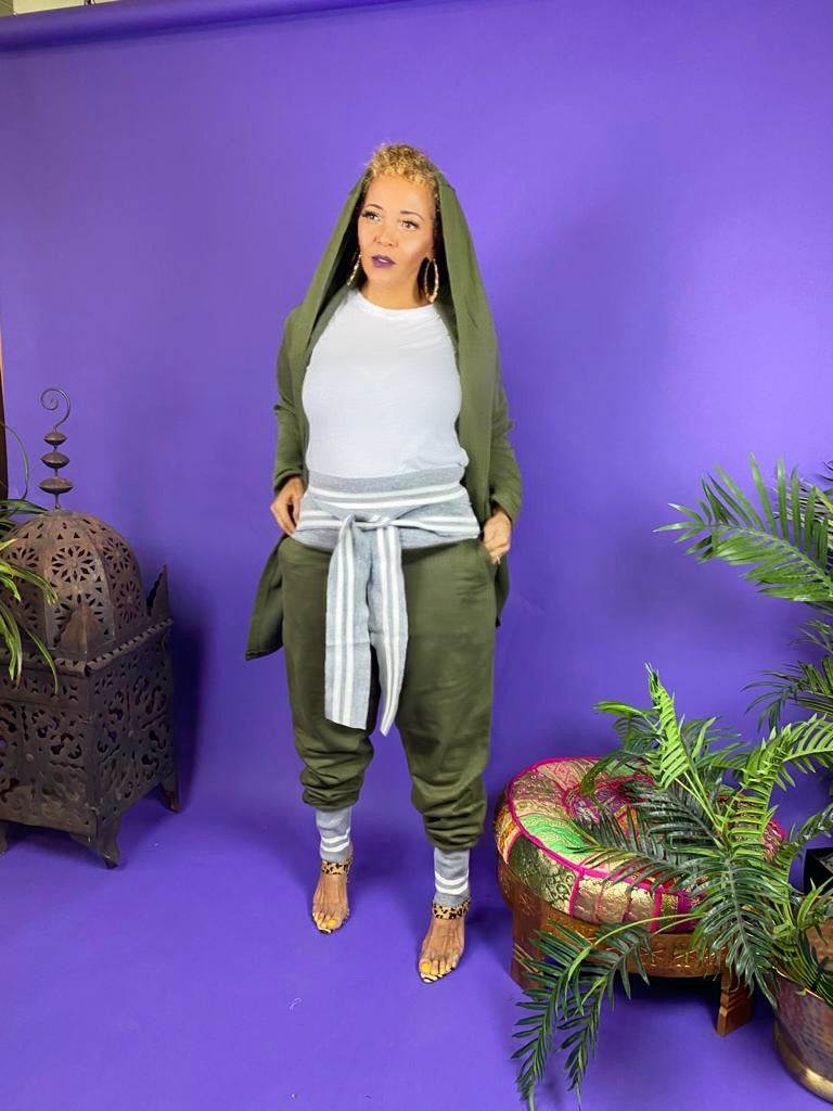 LOVE & BASKETBALL (RECONSTRUCTED SWEATPANTS) -OLIVE/GRAY