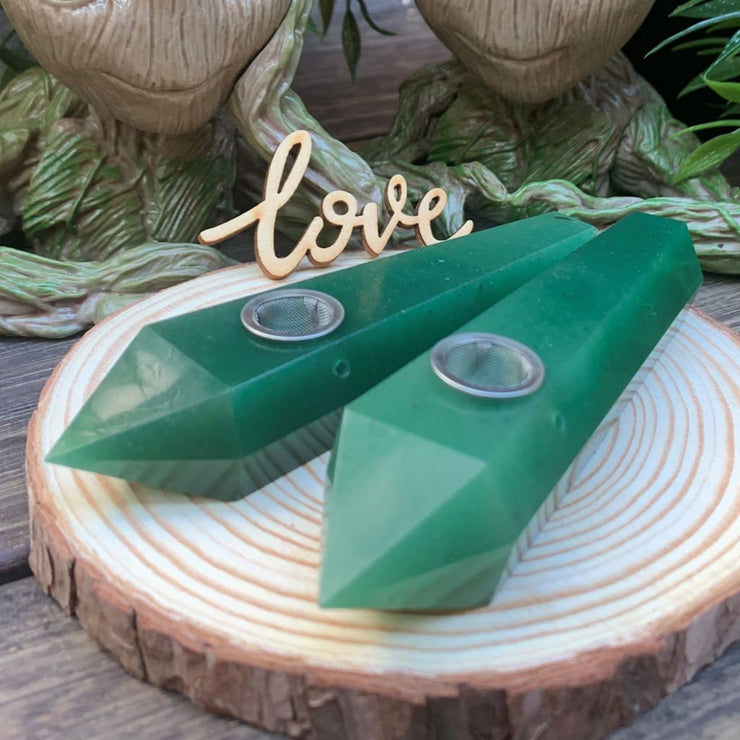 Green Aventurine Crystal Pipe