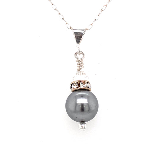 Pearl & Crystal Pendant (10 Colours)