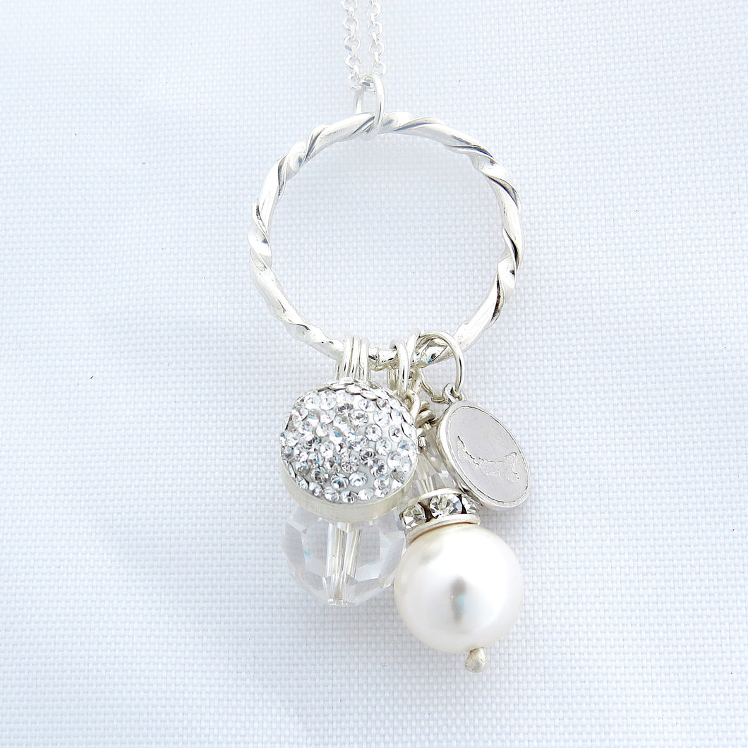 Crystal, Pearl and Silver Cluster Pendant (6 Colours)