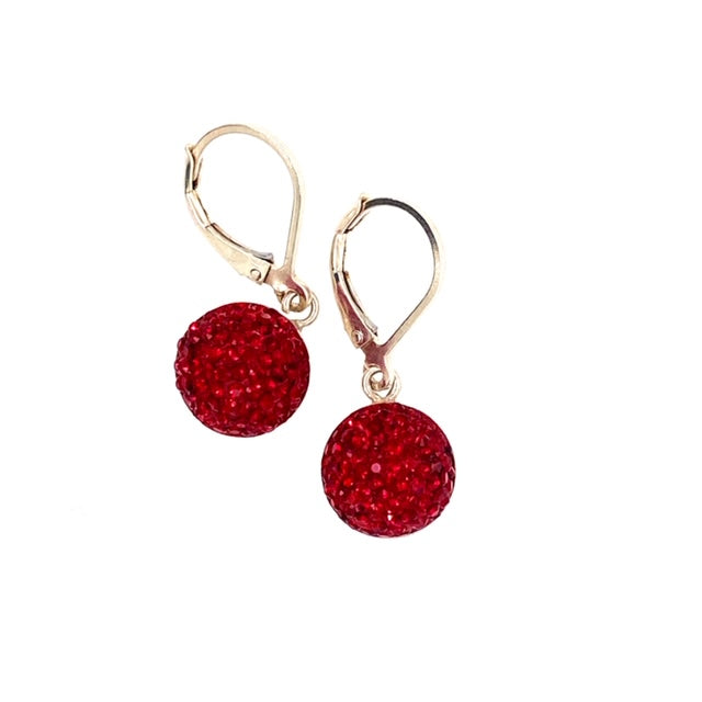 Crystal Leverback Earrings (10 Colours)