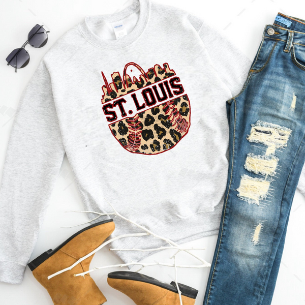 St. Louis Baseball w/ City and Cheetah - Ash Grey Crewneck Sweatshirt