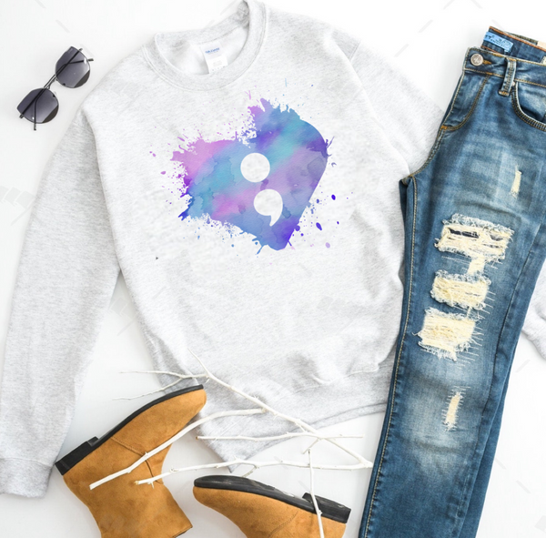 Continue; Suicide Awareness Splash Watercolor - Ash Grey Crewneck Sweatshirt