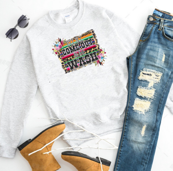 It'll All Come Out In The Wash (serape & florals) - Ash Grey Crewneck Sweatshirt