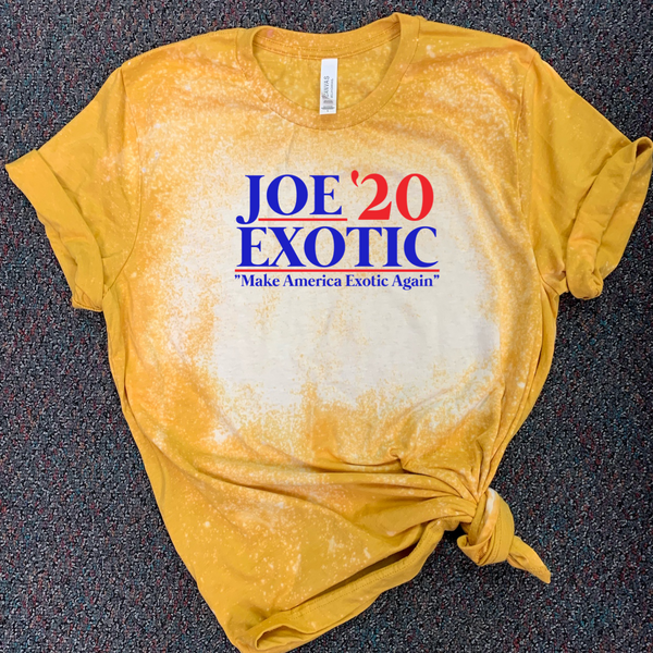 "Joe Exotic '20 ""Make America Exotic Again"" - Acid Wash Mustard"
