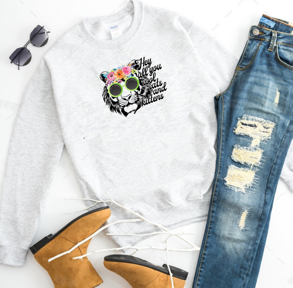 Hey All You Cool Cats and Kittens w/Hippie Tiger - Ash Grey Crewneck Sweatshirt