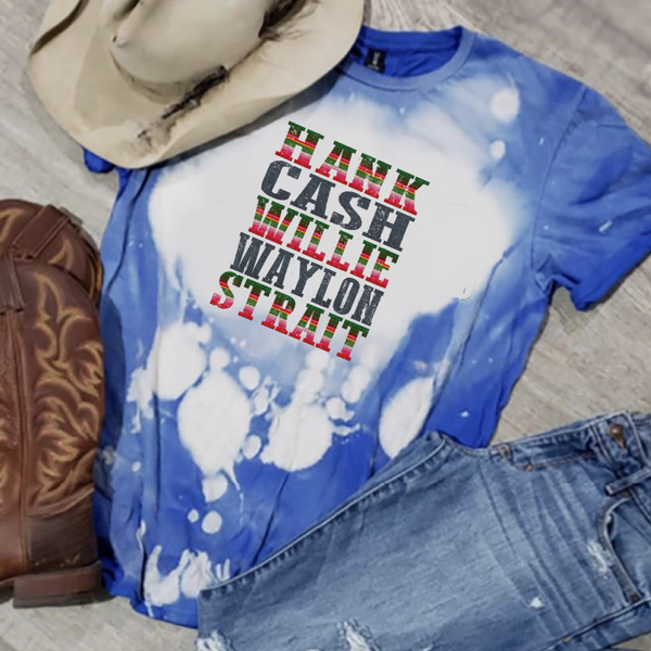 Hank. Cash. Willie. Waylon. Strait. (serape) - Acid Wash Royal Blue