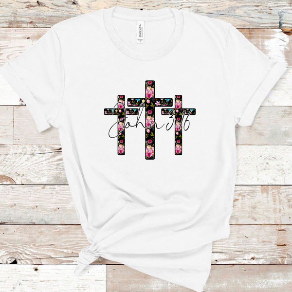 3 Floral Crosses. John 3:16 - White
