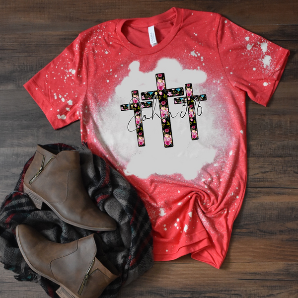 3 Floral Crosses. John 3:16 - Acid Wash Red
