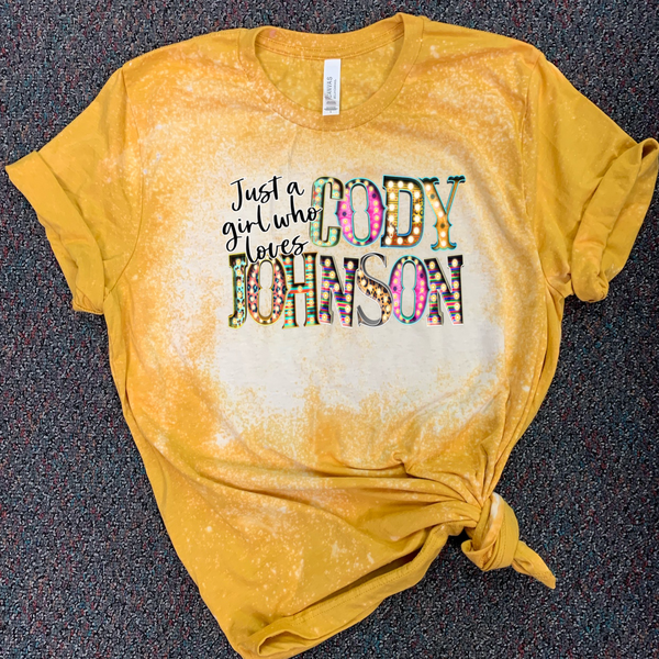 Just a Girl Who Loves Cody Johnson - Acid Wash Mustard