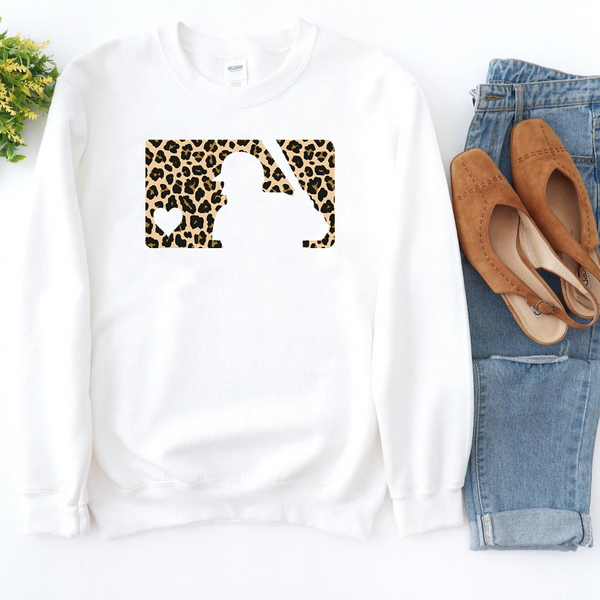 MLB Cheetah Baseball - White Crewneck Sweatshirt