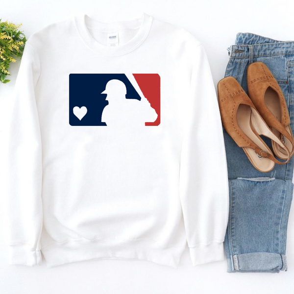 MLB Red & Blue Baseball - White Crewneck Sweatshirt