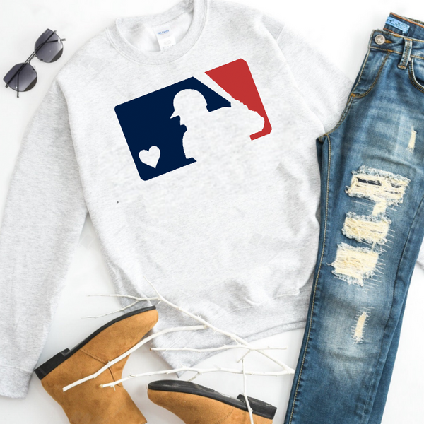 MLB Red & Blue Baseball - Ash Grey Crewneck Sweatshirt