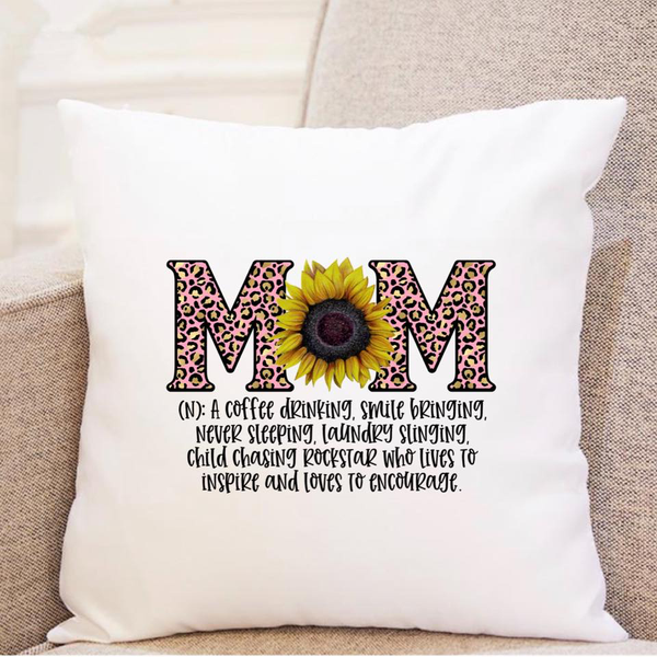 Mom Definition - w/ Sunflower and Pink Leopard - Pillow