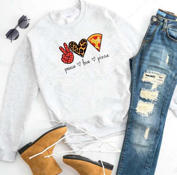 Peace. Love. Pizza. (cheetah heart) - Ash Grey Crewneck Sweatshirt