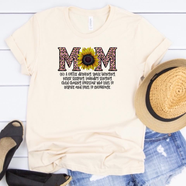 Mom Definition - w/ Sunflower and Pink Leopard - Cream