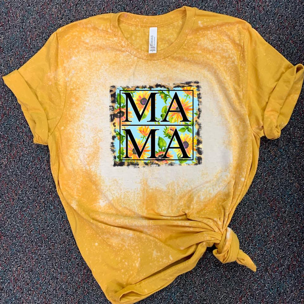 MAMA - w/ Sunflower and Leopard Background - Acid Wash Mustard
