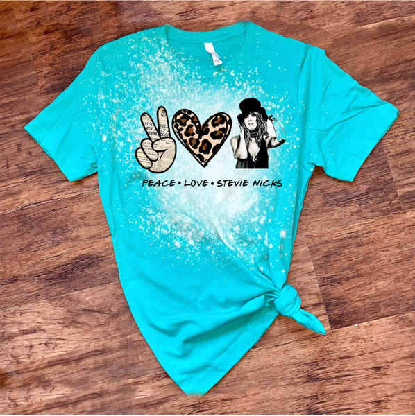 Peace Love Stevie Nicks - Design1 - Acid Wash Heather Turquoise