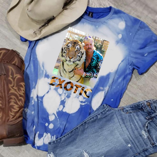 Joe Exotic w/Tiger - Exotic w/Tiger Print - Acid Wash Royal Blue