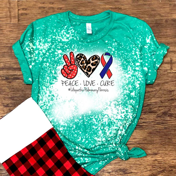 Peace. Love. Cure. #IdiopathicPulmonaryFibrosis (red & blue) - Acid Wash Green