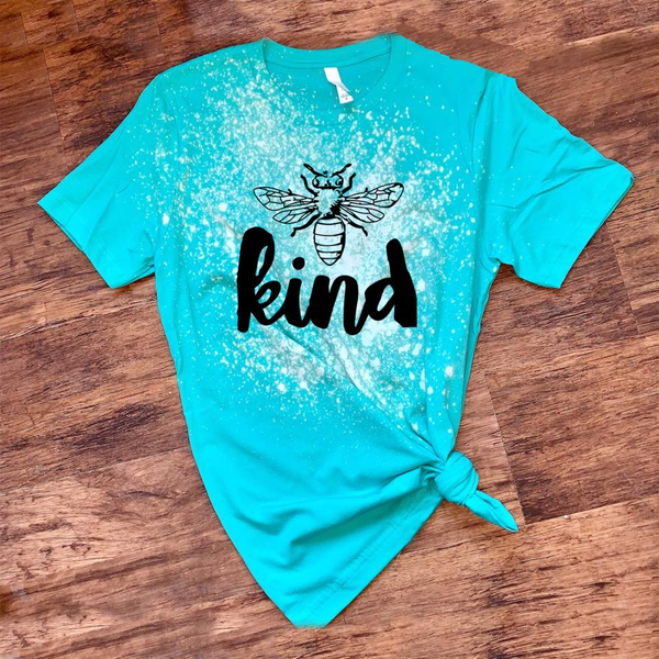 Bee Kind w/ Black Print - Acid Wash Teal