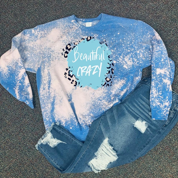 Beautiful Crazy - Crew Neck - Blue Acid Wash