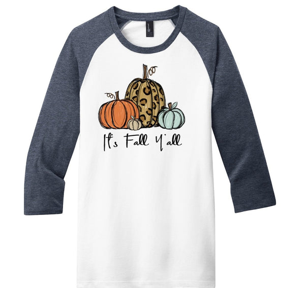 It's Fall Y'all - Heather Navy / White Raglan
