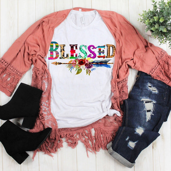 Blessed w/ Floral Arrow - White
