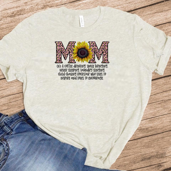 Mom Definition - w/ Sunflower and Pink Leopard - Oatmeal