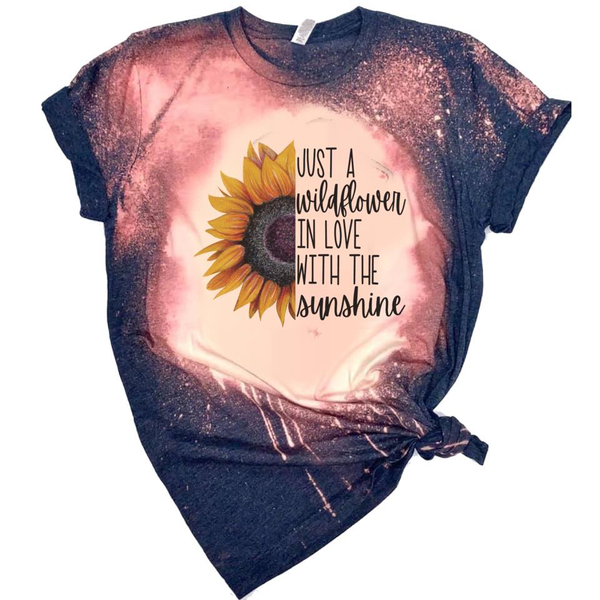 Just a Wildflower In Love with Sunshine w/Sunflower - Acid Wash Navy