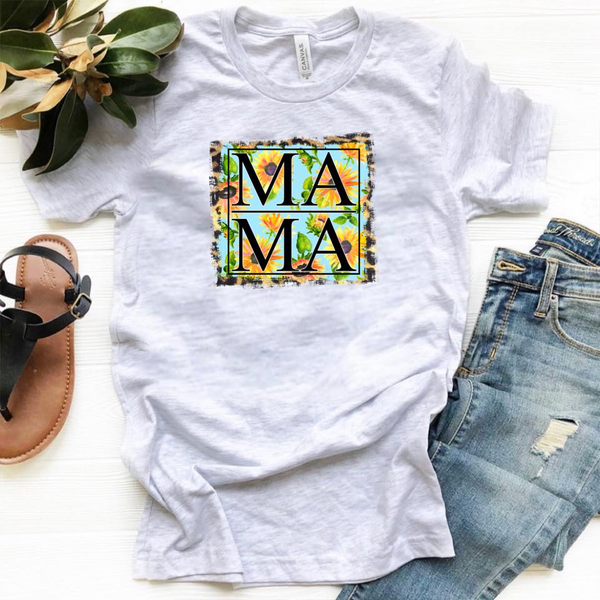 MAMA - w/ Sunflower and Leopard Background - Ash Grey