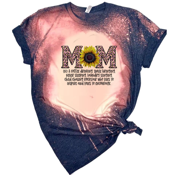 Mom Definition - w/ Sunflower and Pink Leopard - Acid Wash Navy