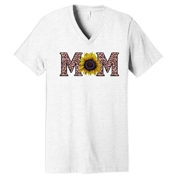 Mom - w/ Sunflower and Pink Leopard - Ash Grey V-Neck
