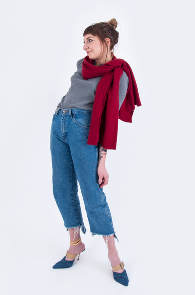 Red Scarf and raw hem jeans