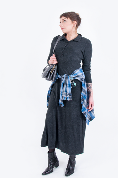 knit maxi dress with blue flannel