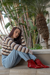 vintage sweater and Levi's in beverly hills