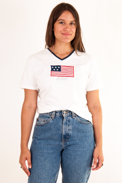 vintage white t-shirt with American flag patch