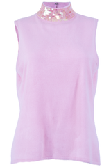 pink vintage tank with sequin mock neck