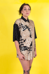 vintage black and beige printed short sleeve shirt