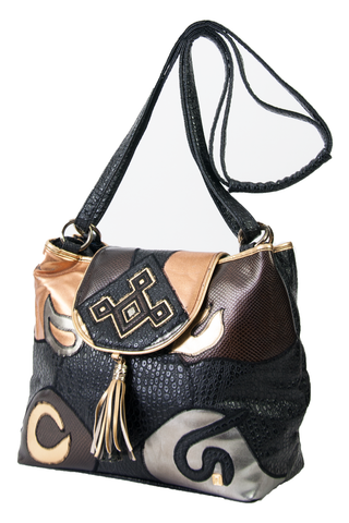 metallic leather gypsy bag