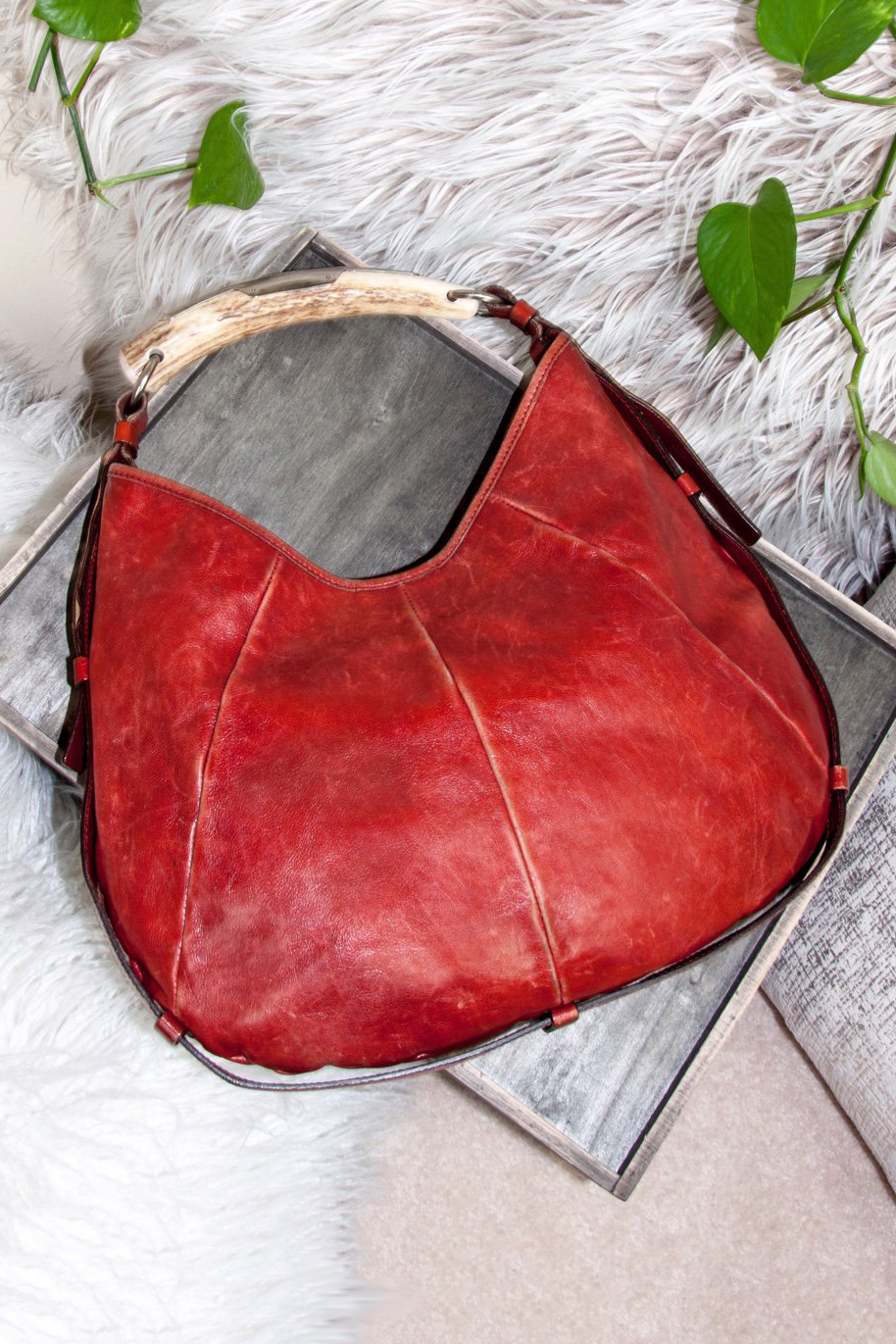 vintage red leather YSL Mombasa purse