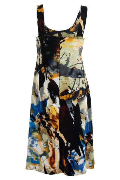 vintage black dress with multicolor paint splatter print