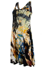 black vintage dress with multicolor paint splatter print