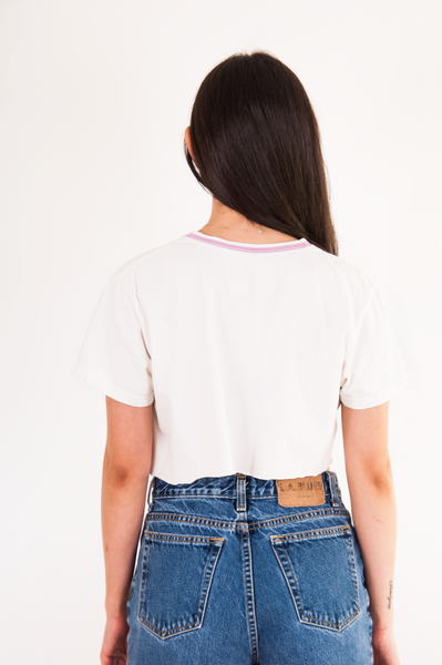 vintage jeans and white crop top