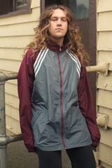 retro Adidas track jacket in grey and maroon