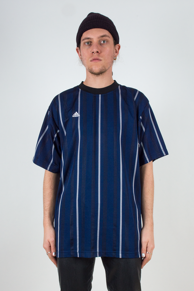 blue Adidas t-shirt with vertical stripes