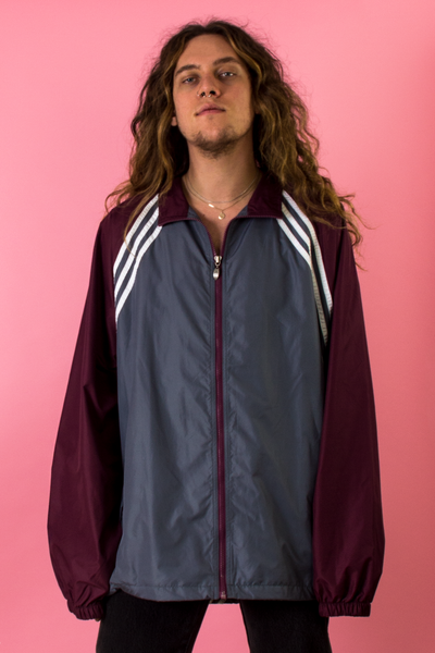 vintage Adidas track jacket in grey and maroon